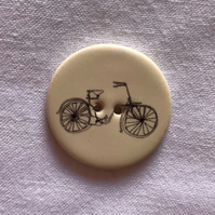 Ivory Ceramic Bicycle Button - 28mm