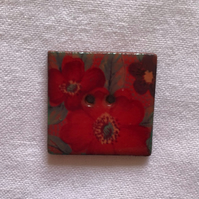 Scarlet Flower Hand-made Ceramic Buttons - 24mm