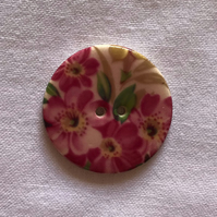 Pink Rose Hand-Made Ceramic Buttons - 28mm