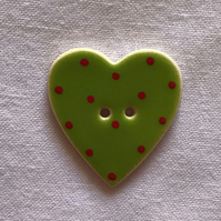 Green Heart Hand-Made Ceramic Buttons - 30x28mm