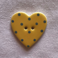 Yellow Polka Dot Ceramic Buttons - 30x28mm
