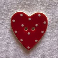 Red Polka Dot Ceramic Buttons - 30x28mm