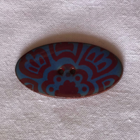 Oval Mauve 'n Blue Ceramic Buttons - 40x20mm