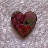 Pretty Pink Heart Ceramic Button - 24x22mm