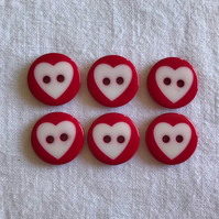 6 x Red Round Heart Buttons (15mm)