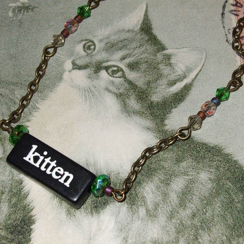 Kitten/Animal double sided necklace