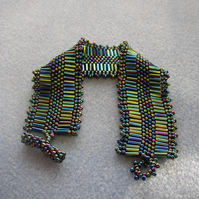 beautiful beaded cuff bracelet - multi coloured beads