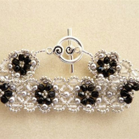 Black fire polish crystal and grey pearl sparkle cuff