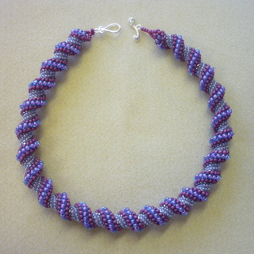 pink / lilac beaded necklace