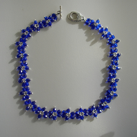 Cobalt blue daisy flower choker style necklace