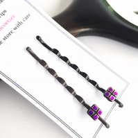 Pink fused glass and dichroic hair grip, bobby pin, clip