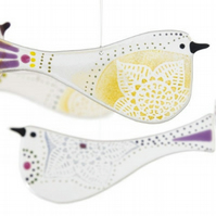 Glass bird - purple, yellow and green OR choose your own colour combination