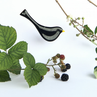 fused glass blackbird, a british garden bird