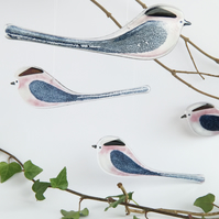 Long-tailed tit - fused glass