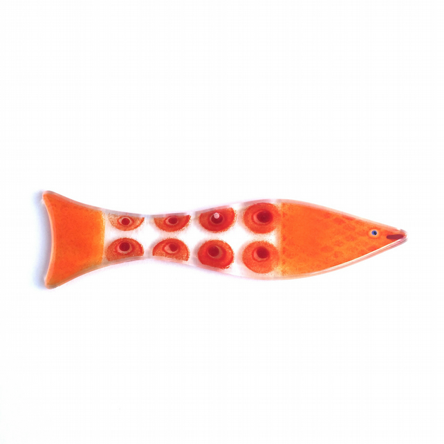 orange and red glass fish