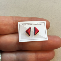 red geometric glass stud earrings