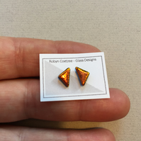 copper-gold geometric glass stud earrings