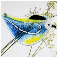 Fused glass bue-tit, British garden bird