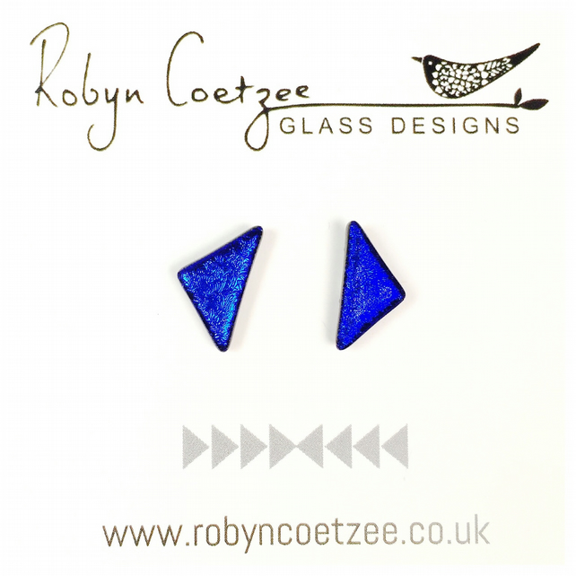 classic blue triangle glass stud earrings