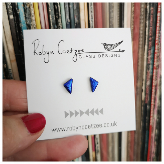 extra small blue triangle earrings