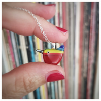 very small Rainbow Wren of Hope glass pendant on sterling silver chain