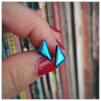 turquoise blue triangle glass stud earrings