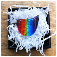 Rainbow Wren of Hope glass pendant with vertical stripes