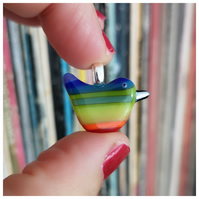 wee 'rainbow wren of hope' fused glass bird pendant