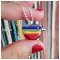 Rainbow Wren of Hope glass pendant - Zorro
