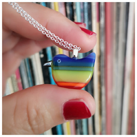 Zorro, the brave and bold 'rainbow wren of hope' glass bird pendant