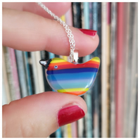 colourful 'Rainbow Wren of Hope' glass pendant on sterling silver chain