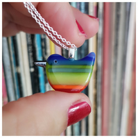'Rainbow Wren of Hope' glass pendant with lime green body