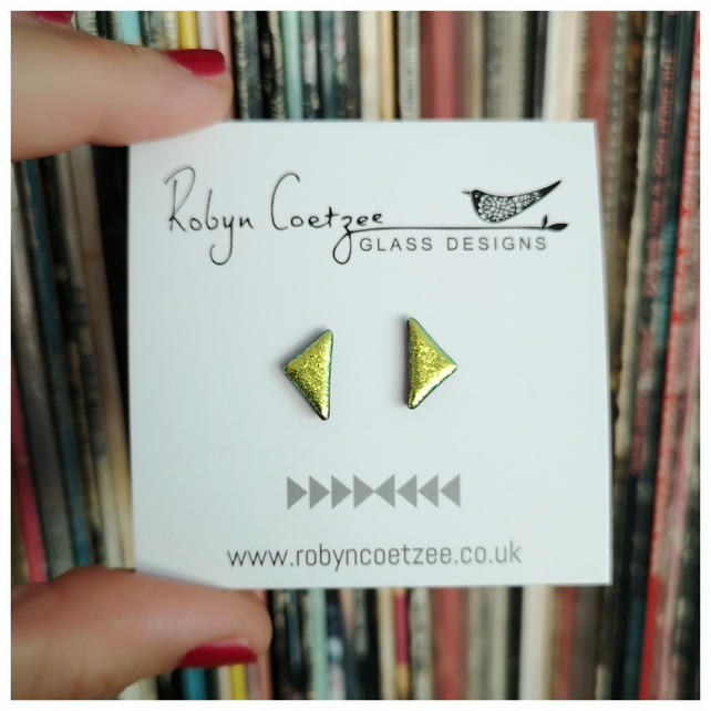 lime green, acid yellow triangle glass stud earrings