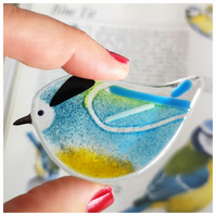 blue-tit, light blue, fused glass, British garden bird