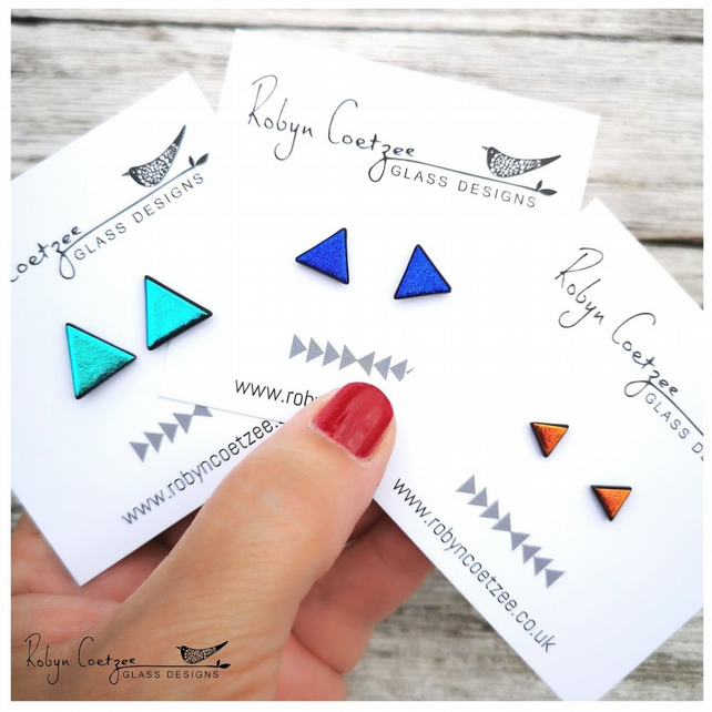SMALL triangle stud earrings in three colours