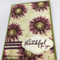 Purple Floral Thankful Card