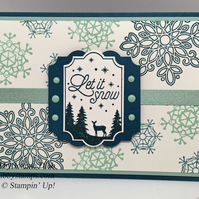 Snowflake Christmas Card with Reindeer