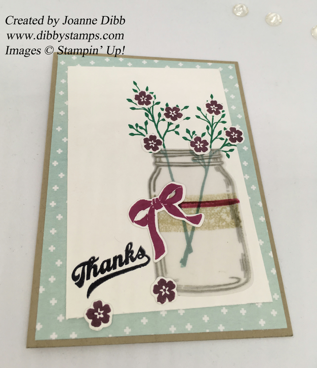 Thank You Card with Jar of Purple flowers