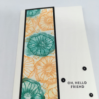 Oh Hello Friend Watercolour Flowers Card