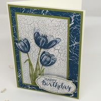Blue Tulips Happy Birthday Card