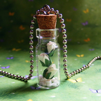 White Rose and Pearls Glass Bottle Pendant