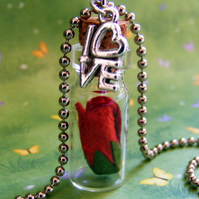My Love is like a Red Red Rose Glass Bottle Pendant