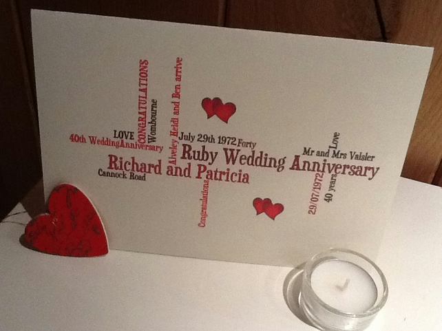 Ruby Wedding Anniversary Gift: PERSONALIZED RUBY WEDDING ANNIVERSARY (40 Years...