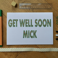 Get Well Soon card - Personalised card - Bespoke blank card for Get Well,