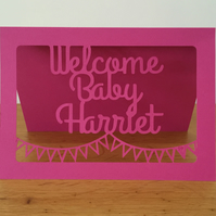 Personalised New Baby Card Custom Blank Card for Baby Girl Welcome Baby