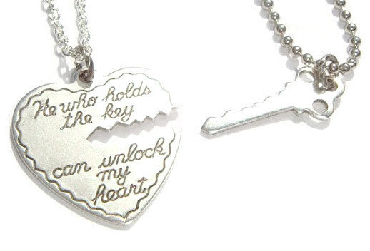 b541d08b17 His & Hers Key To My Heart Couples Necklace... - Folksy