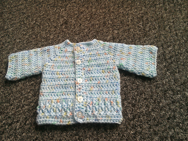 Baby boy's crocheted cardigan