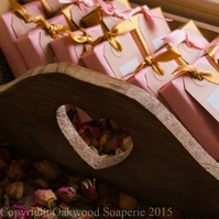25 custom, handmade, natural soap wedding favours. Min lead time approx 8 weeks.