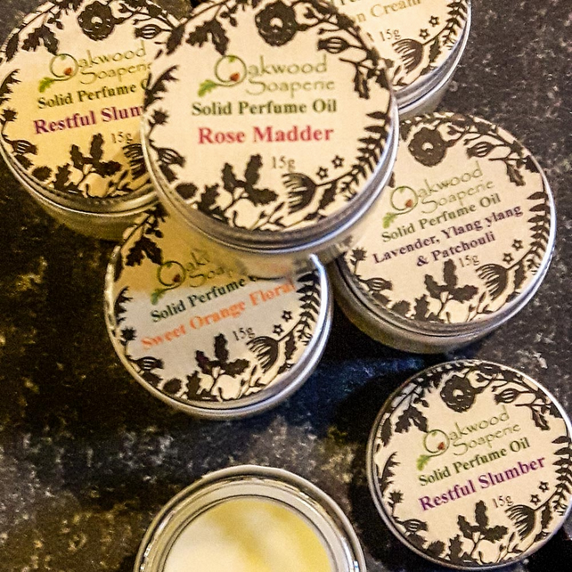Rose Madder - Handmade Solid Perfume oil, perfume balm with rose oil