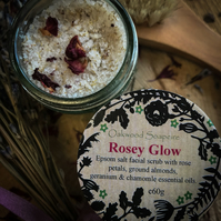 Rosey Glow epsom salt scrub for facial skin with rose petals and chamomile.